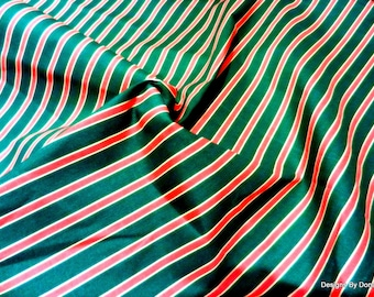 Clearance Sale, One Yard Cut Quilt Fabric, Christmas, Red and Green Stripes, Sewing-Quilting-Craft Supplies
