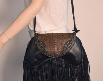 Rare Python Genuine Leather Crossbody Clutch Handbag in Brown with Studs and Fringes