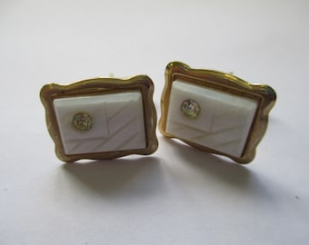 Vintage cuff links gold tone with crystal used no markings