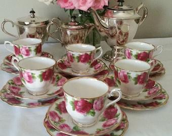 Royal Albert tea set - six trio's - old english roses