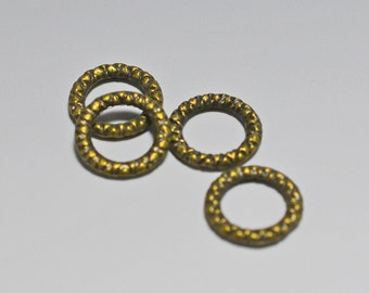 Textured antique bronze rings, not drilled, 12mm - #2078