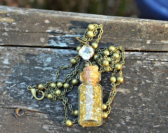 Gold Dust Necklace long necklace with tiny glass jar of gold German glass glitter with vintage rhinestone accent