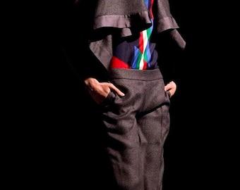 Dark grey culottes, pants, trousers