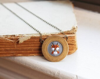 Sly Little Fox- hand embroidered necklace, miniature, fox. woodland