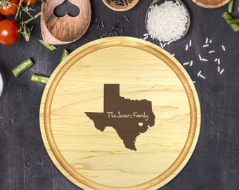 Custom Cutting Board Round - State Cutting Board, Wedding Gift, Personalized Gift, Housewarming Gift, Anniversary Gift, Christmas, B-0014