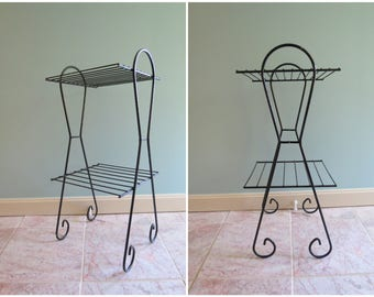 Mid Century Metal Plant Stand // Vintage Wire Book Rack Shelf or Planter Stand Black Finished Metal Scroll Leg Style Atomic Era 1950's Mod