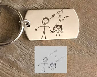 Artwork Keyring | Child's Artwork Key chain | Daddy Gift | Christmas Gift for Him |  Engraved Keyring | Gift for Dad