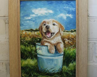 Dog Painting Framed Painting Original Puppy Oil Painting Original Oil Dog Framed Art Canvas Art Pet Painting Animal Painting