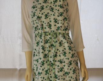 St. Patrick's Day Apron, Shamrock apron, leprechan apron handmade, adult size