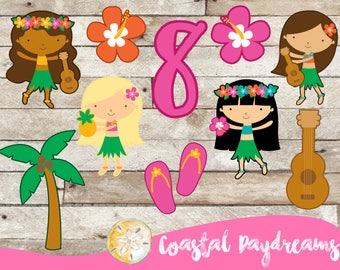 Luau party cutouts, Luau Party decorations, Luau Party, Hawaiian Party, Luau decorations, Luau cupcake Toppers, 20 pieces