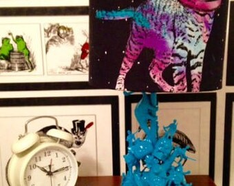 """Toy Table Lamp with """"Space Kat"""" Custom Light Shade"""