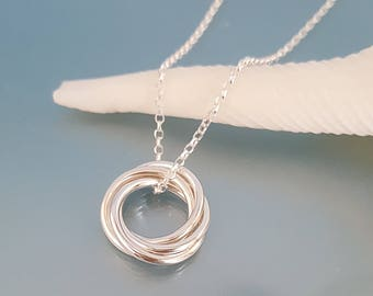4 entwined circles 40th silver pendant, silver necklace, Russian wedding love knot four linked rings, rolling, sisters gift circle jewellery