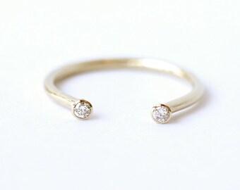 Diamond Horseshoe Ring, Dual Diamond Ring, Dual Stone Ring, Open Ring, Open Diamond Ring, Open Wedding Ring, Gold Horseshoe Ring