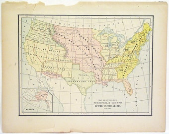 Original 1890s Color Atlas Map of The United States by George F. Cram Color Map Showing Territorial Growth of The United States Wall Art