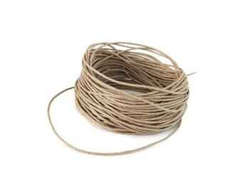 Linen Beige Waxed Cotton Cord 1mm - 10 meters / 32.8 ft  (C15)
