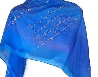 William Blake Lyrics Literature Scarf literary bookish Gift for book lovers Silk Hand Painted Mothers day gift more size and color available