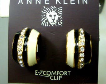 Anne Klein White Black Gold Hoop Earrings, EZ Clip Backs w Sparkling Rhinestones and Enameling