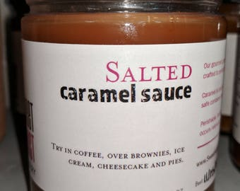 Salted Caramel Sauce - Great for fruit, coffee, ice cream and more - Make great gifts - CHRISTMAS, birthday, thank you, wedding favors