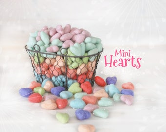 "Mini Hearts - Mini Stars - 10 Wool Felt Hearts or Stars - Size Approx. 1"" x 1"" - 10 Felted Mini Stars - Pastel  Colors - Mini Wool Hearts"