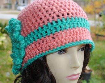 Handmade Crochet, Flapper, Bucket, Cloche Hat 22 to 24 inch melon