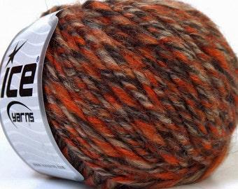 Simba Alpaca Orange Grey Camel Brown, Alpaca Yarn, Wool Yarn, Worsted Yarn, Aran Yarn, Knitting Yarn, Crochet Yarn