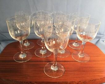 1950s NORITAKE Etched Mini Wine Glasses - Set of 4