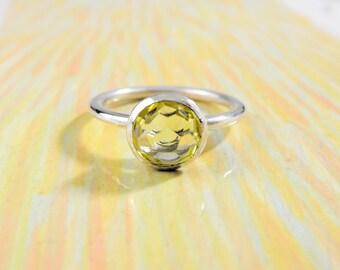 925 silver, or gold 18 Kt, color ring with Lemon quartz, diameter 8 mm, Ct. 0.46