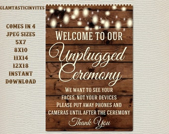 Printable Wedding Sign, Unplugged Wedding Sign, Rustic Wedding Sign, Printable Sign, Wedding Sign, Rustic Wedding, Wood Sign, Digital Sign