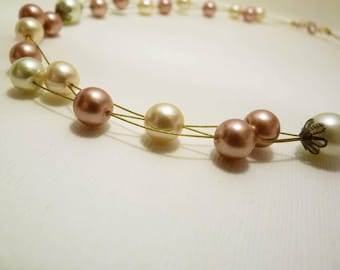 Floating Pearls Necklace glass invisible gold copper cream multi strand