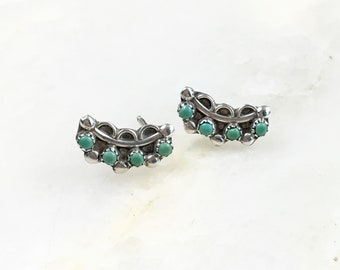 Vintage Sterling Navajo Petite Turquoise Stud Earrings