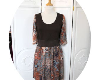 Short dress knitted Brown cotton and viscose print
