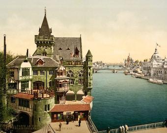 1900 Paris ~ River Seine ~ Poster Print