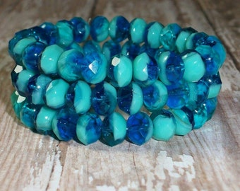 Turquoise, Blue Czech Glass Faceted Rondelle Beads 8x6MM | Set of 10 Beads