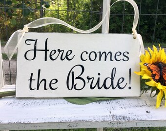 WEDDING SIGNS | Here comes the Bride | Bride and Groom | Mr and Mrs | Wood Wedding Signs | Flower Girl Signs | 6 x 11.5a A