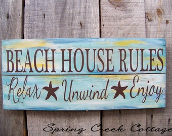 Coastal Decor, Coastal Signs, Uniquely Handpainted Signs, Beach House Rules, Beach Decor, Coastal Decor, Handpainted, Wood Sign, Nautical