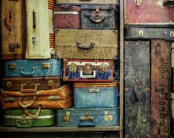 Travel Art. Fine Art Photography. Travel Gift. Vintage Luggage. Photographic Print. Home or Office Decor. Nostalgic Decor. Retro Decor.