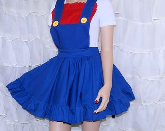 Mario Red Blue Pinafore Apron Costume Skirt Adult ALL Sizes - MTCoffinz