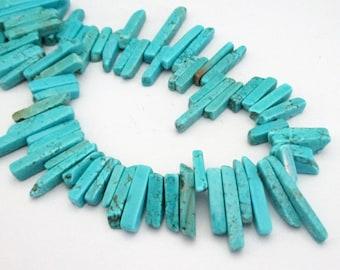 "Blue Turquoise Spike Beads - Long Blue Howlite Gemstone Beads - Ethnic Tribal Square Shape Stick - 7.5"" Strand - DIY Boho Jewelry in Bulk"