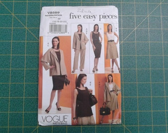 Five Easy Pieces Sewing Patterns, Uncut,  Vogue V8589, sizes 16,18,20,22, Jacket, Top, Skirt, Dress, Pants, Complete Wardrobe Pattern