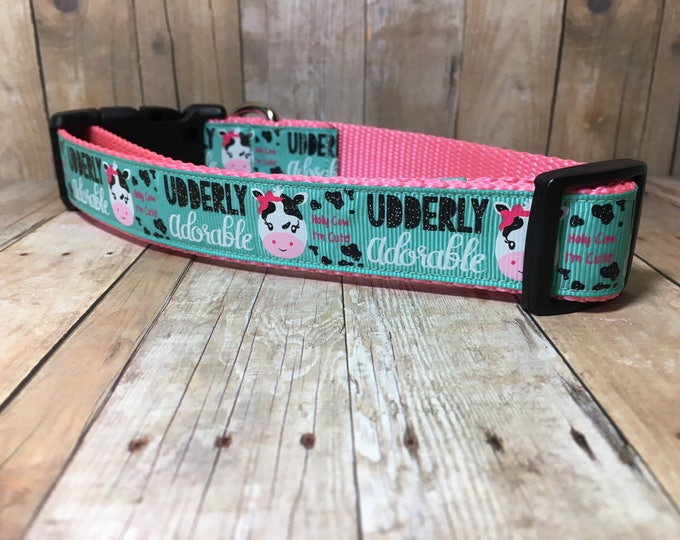 "Udderly Adorable | Designer 1"" Width Dog Collar 