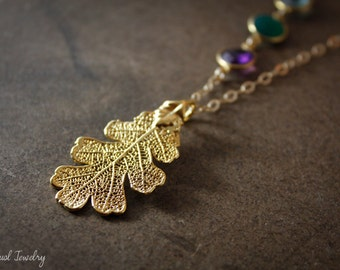 Oak Leaf Necklace - Gold Dipped Leaf - Onyx, Amethyst, Layering Necklace