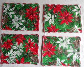 """Christmas placemats. red and white poinsettias placemats, 12"""" x 9"""" christmas placemats, ready to ship"""