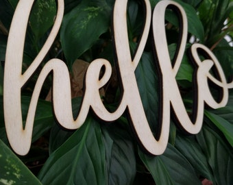 Hello Sign Laser Cut Wood Word  Sign Unfinished