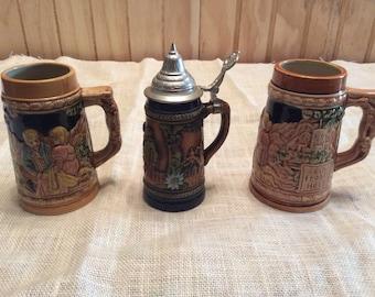Vintage set of 3 Beer Steins