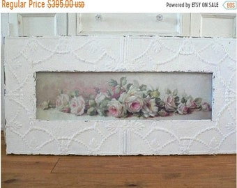 ON SALE Antique Ceiling Tin Framed Yardlong REPASY White Shabby Roses