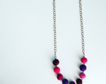 Paulina Felt Necklace in Violet, Purple Statement Necklace, Gift for Her, Mother's Day Jewelry, Necklace for Mom, Felt Balls, Unique Jewelry