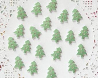 Green Acrylic Christmas Tree Buttons