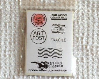 Rubber Stamp - Vintage Postage Mail Art - Red Rubber Vinyl Cling Style Rubber Stamp by Red Lead - For Paper Crafts, Cards, Art Journals