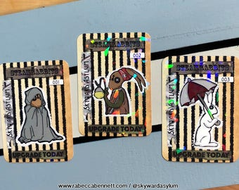 Holographic Steamrabbits collectors cards 1-3