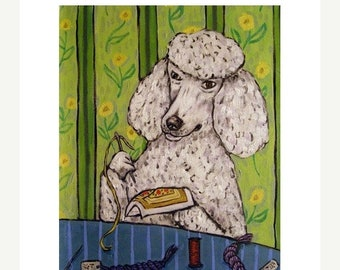 25% off Poodle Doing Needlepoint Dog Art Print